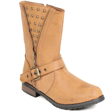 Leather Beige Boots For Womens -tb30
