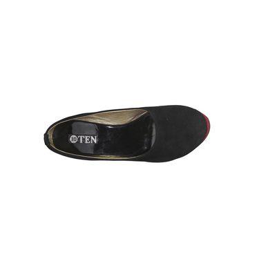 Ten Suede Black Wedges -ts12