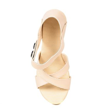 Ten Synthetic Leather Beige Wedges -ts308