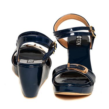 Patent Leather Blue Wedges -plttb-559Blu01