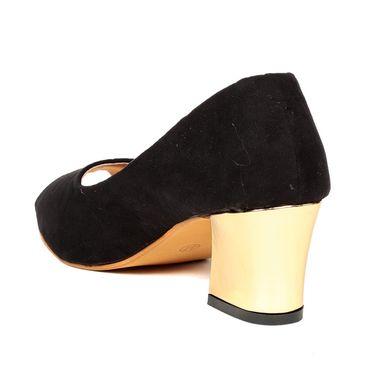 Ten Suede Black Block Heel Sandal -ts309