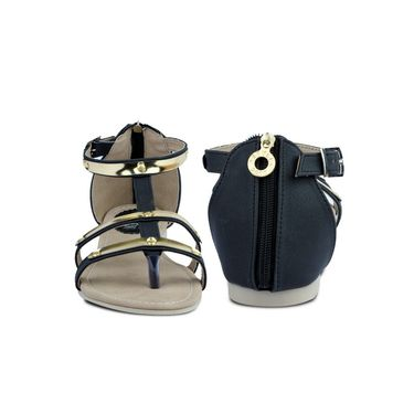 Ten Artificial Leather Black Sandals -ts27