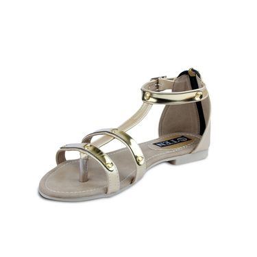 Ten Artificial Leather Gold Sandals -ts28