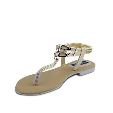 Ten Artificial Leather Gold Sandals -ts67
