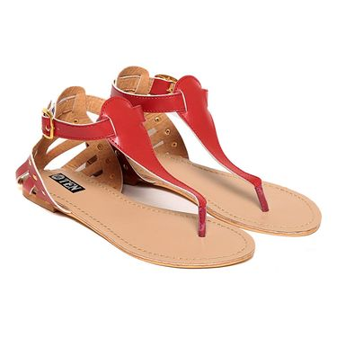 Synthetic Leather Red Sandals -11Red01