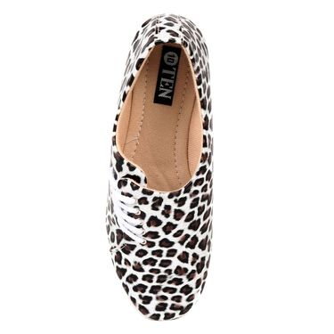 Ten Synthetic Leather Black & White Womes Sports Shoes -ts325