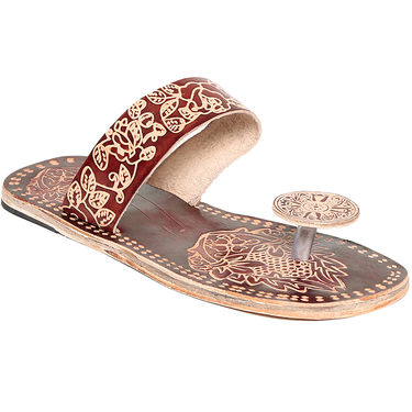 Leather Maroon Slippers -08Mrn01