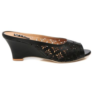 Synthetic Leather Black Wedges -575Blk04