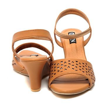 Synthetic Leather Tan Wedges -577Tan01