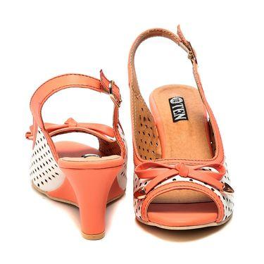 Synthetic Leather Orange Wedges -578Orng02