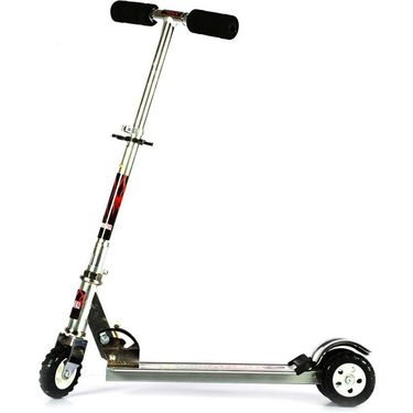 Kids Foldable Scooter with Adjustable Height, Broad Tyre Grip - Silver