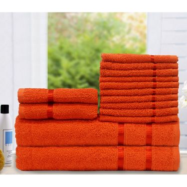 Story@Home 14 Pcs Premium Towel Combo 100% Cotton-Orange -TW1205_2X-1M-1S