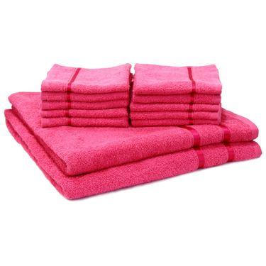 Story@Home Combo of 12 Pcs Bath & Face Towel 100% Cotton-Pink-TW12_2-02X_1-02S