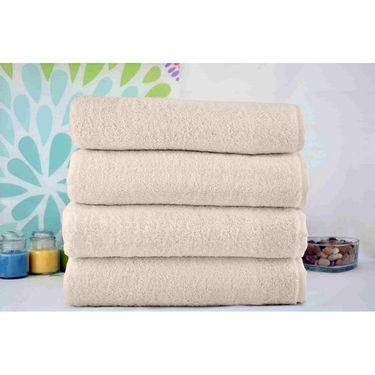 Story@Home Pack of 4 Pcs Hand Towel 100% Cotton-Beige-TWL-1019-M