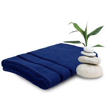 Set of 2 Storyathome Navy Blue Cotton Womens Bath Towel-TW_2-1207-L