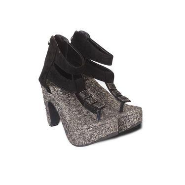 Ten Synthetic Heels Sandals For Women_tenbl120 - Black