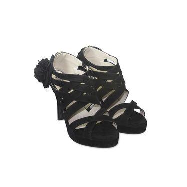 Ten Suede Leather Sandals  For Women_tenbl140 - Black