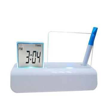 Digital Table Alarm Clock 677 Colorful LED Backlight Erasable Message Board with Time Date Temperature Countdown-White-ULMBC-W