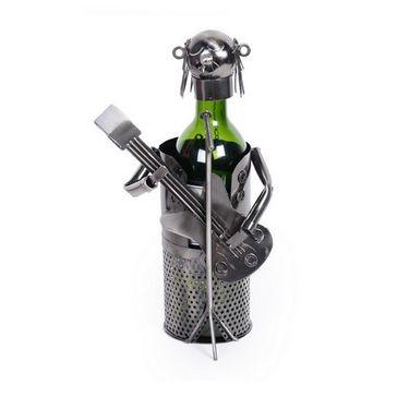Metal Figurine and Wine Bottle Holder  GUITARIST-ULMETWINE-G