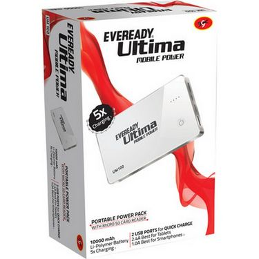 Eveready UM 100 Power Bank(10000 mAh) - White