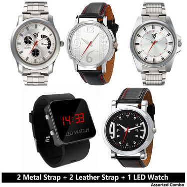 Pack of 5 Branded Stylish Watches For Men_5smw - Silver & Black