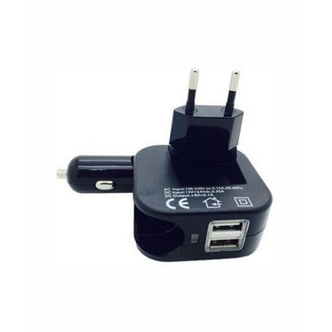Vibrandz 2 In 1 Car and Home Charger Worldwide Adaptor - Black