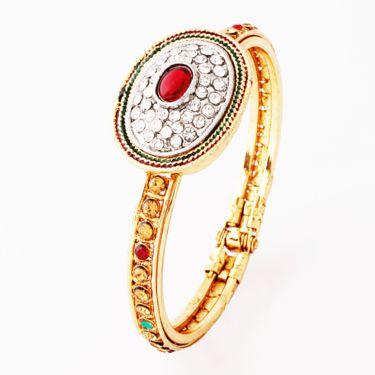Variation Red Crystal Oval Shape Austrian Diamond Studded Bangle_Vd11503