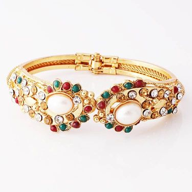 Variation Maroon & Green Pearl Openable Bangle_Vd11544