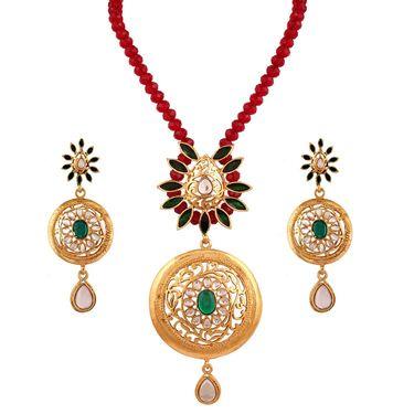 Variation Red Crystal Ethnic Gold Plated Pendant Necklace Set_Vd11633
