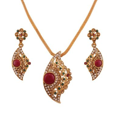 Variation Green & Maroon Ethnic Wear Pendant Set_Vd15795