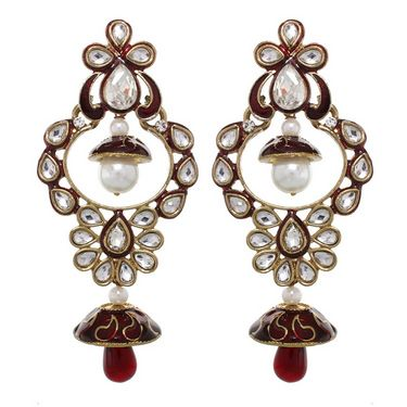 Vendee Fashion Princess Wear Earrings - Maroon - 8381