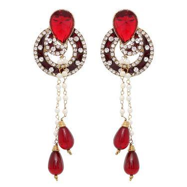 Vendee Fashion Round Shape Earrings - Maroon - 8407