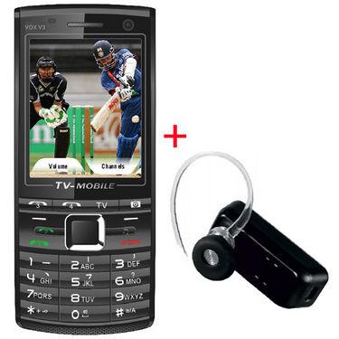 VOX 4 SIM TV Mobile with Dual Camera & Dual Memory Card Slot - V3 + Bluetooth - Black