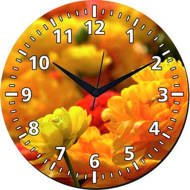 meSleep Yellow Flower Wall Clock With Glass Top-WCGL-01-58