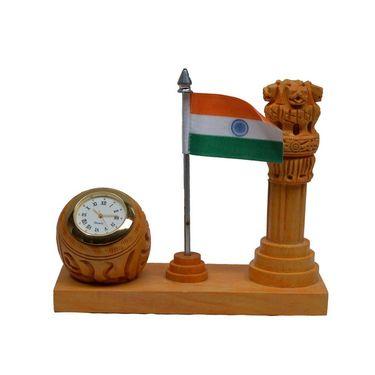 eCraftIndia Wooden Table Clock with Ashoka Pillar and National Flag-WIDPS102