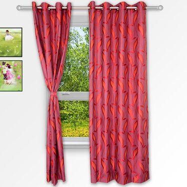 Story @ Home Maroon 2 pc Window curtain-5 feet-WNR3025