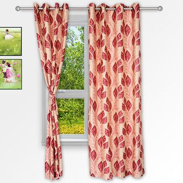 Story @ Home Maroon 2 pc Window curtain-5 feet-WNR3042
