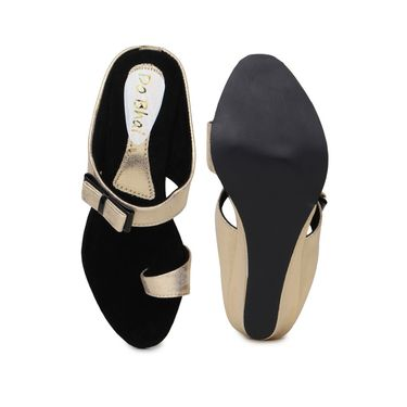 Do Bhai Faux Leather Womens Sandals-450-Golden