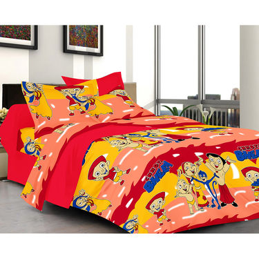 Valtellina CHHOTA BHEEM Double Bed Sheet with 2 Pillow Covers