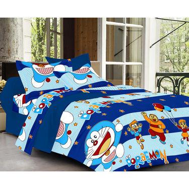 Valtellina Doremon Design Blue Color Double bedsheet With 2 Pillow cover