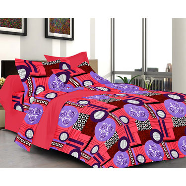 Valtellina Floral Design Pink Color Double bedsheet With 2 Pillow cover