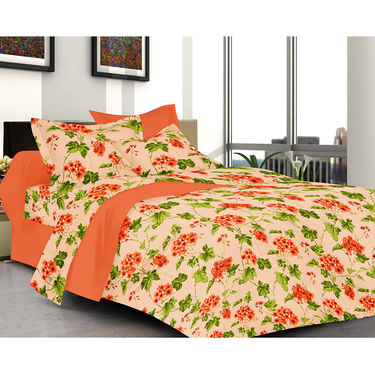 Valtellina Floral Design Orange Color Double bedsheet With 2 Pillow cover