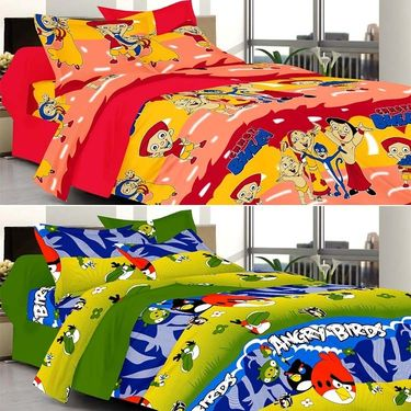 Valtellina Combo of 2 Kids Double Bed Sheets with 4 Pillow Covers-YTD_C2_42_46