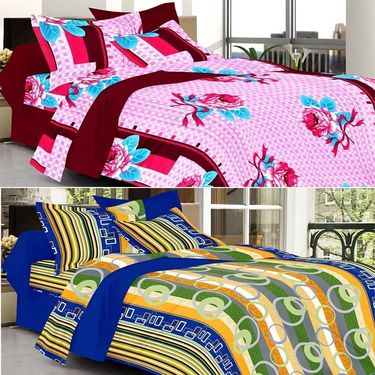 Valtellina Combo of 2 Double Bed Sheets with 4 Pillow Covers-YTD_C2_43_53
