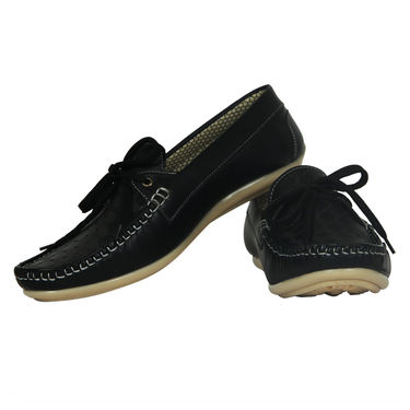 Yellow Tree Faux Leather Black Loafers Shoes -os01