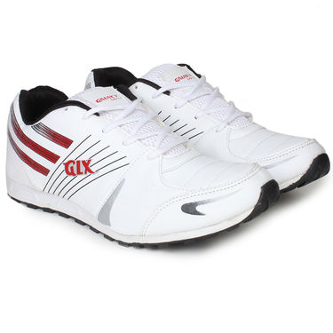 Columbus PU Sports Shoes - White & Pink