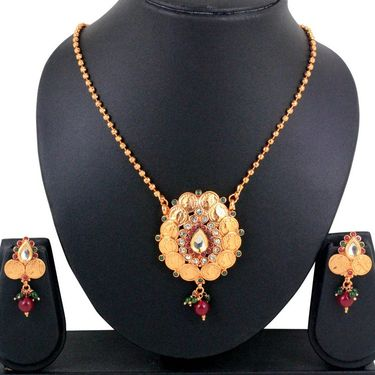 Spargz Antique Coin Pendant Earring Set_Aips020