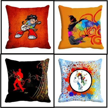 Set of 4 Creative Design Musician proformance design cushion covers-cd-4musician