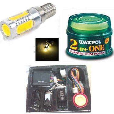 Combo Of Bike central locking, Waxpol 2-in-1 Cleaner Cum Polish -100g & Moter Bike LED Head Light