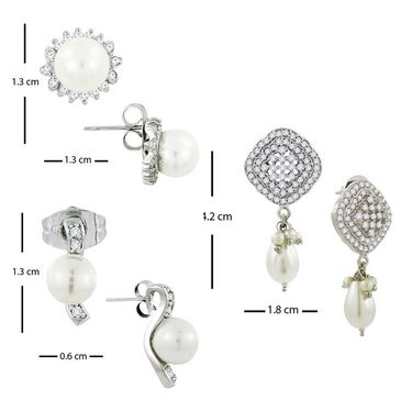 Spargz Combo of 3 Pair Studded Earring In Rhodium Earring_Cb344